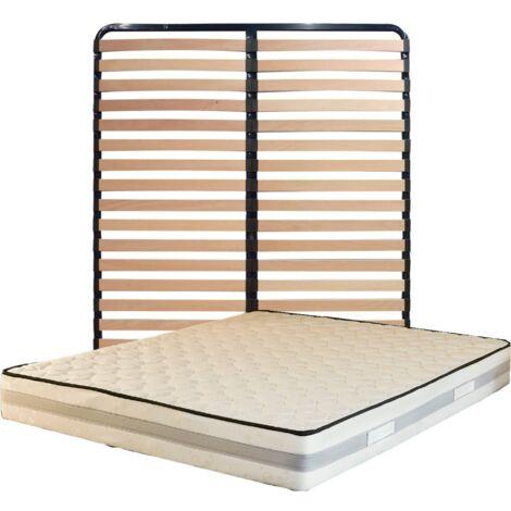 Matelas 200x200 + Sommier Démonté + pieds + Protège Matelas Offerts Mousse Mémoire de Forme - Epaisseur 23 cm - Trés Ferme