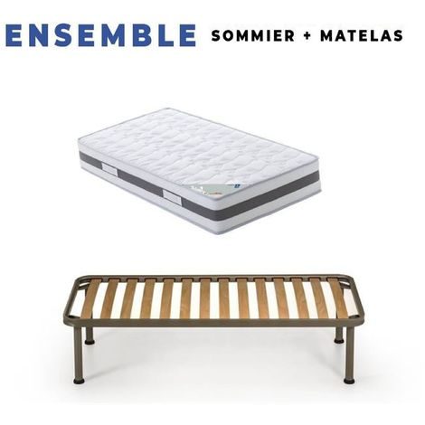 Matelas 70x190 + Sommier Démonté + pieds + Protège Matelas + Oreiller Mémoire Offerts Mousse Mémoire de Forme - Epaisseur 23 cm - Trés Ferme