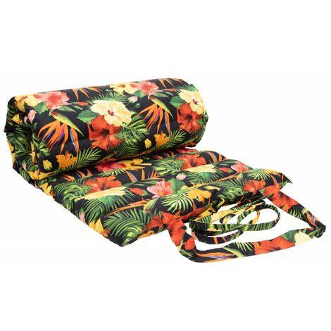 Matelas Bain de Soleil 100% Coton 60 x 180 cm Imprimé Motifs Fleurs Multicolore Multicolore 180 - Multicolore