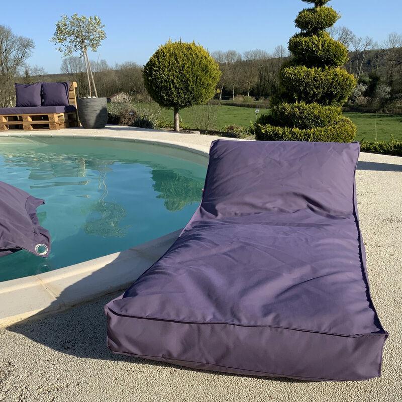 Matelas bain de soleil en microbille Aubergine 160 x 65 cm - Aubergine