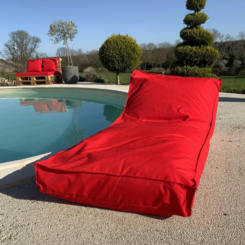 Matelas bain de soleil en microbille Rouge 160 x 65 cm - Rouge