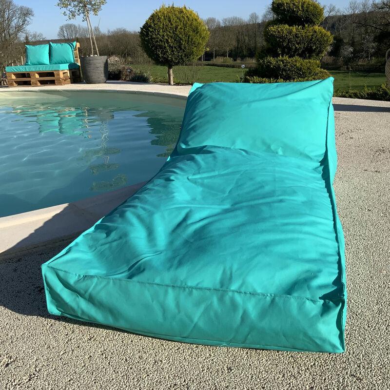 Matelas bain de soleil en microbille Turquoise 160 x 65 cm - Turquoise