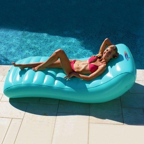 Matelas de piscine gonflable Lounger 195x85 KERLIS - Bleu Ciel - Extérieur