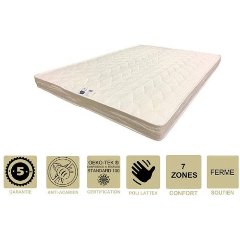 Matelas Ferme avec Latex Naturel Pour Canapé Lit 120x190 x 10 cm - 7 zones de Confort - Ame Poli Lattex HD Haute Résilience - Hypoallergénique