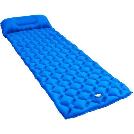 Matelas gonflable avec oreiller 58x190 cm Bleu