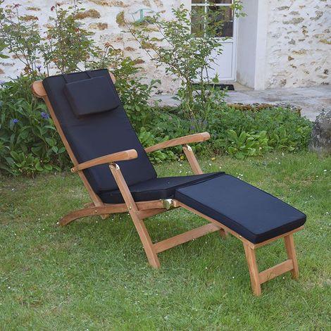 Matelas noir pour Chaise longue - Noir