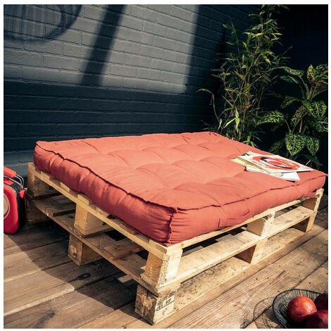 Matelas palette - L 120 x l 80 x H 15 cm - Spirit garden - Rouge brique - Livraison gratuite