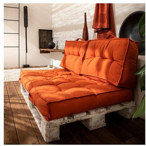 Matelas palette réversible - L 120 x l 80 x H 15 cm - Orange - Livraison gratuite