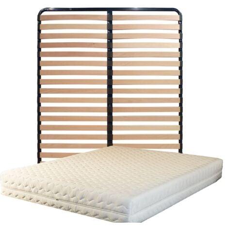 Matelas + Sommier Démonté 200x200 + Pieds Offerts Mousse Indéformable - Soutien Souple - Déhoussable 3 C™tés Housse Lavable - Hauteur 20 cm
