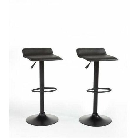 MATEO Lot de 2 tabourets de bar en métal - Revetement simili noir - Contemporain - L38,5x P39