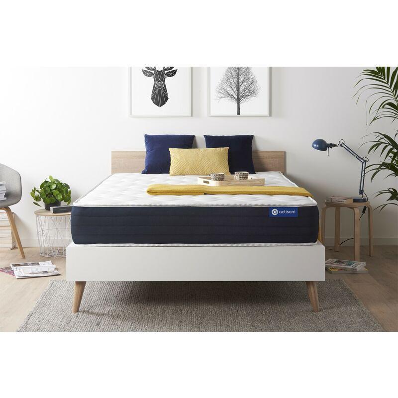 Actisom - Materasso Actilatex sleep 130x190cm , Spessore : 22 cm , Lattice e memory foam , Bilanciato, 5 zone di comfort
