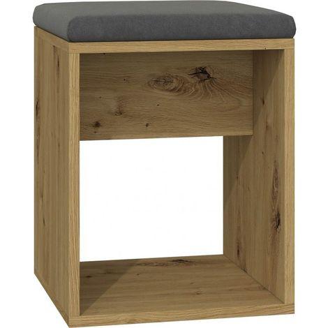 MATIAS | Tabouret moderne avec coussin | Design minimaliste | Dimensions : 51x35x35 | Léger, forme simple | Assise confortable | Chêne - Chêne