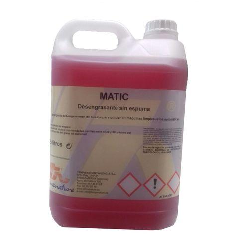 MATIC: Detergente fregasuelos desengrasante para máquinas fregadoras automáticas. Espuma controlada. Botella 5 Lt