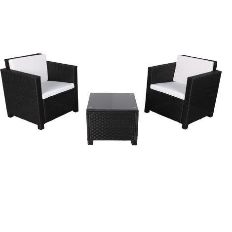 "main image of ""MATIRA - Rattan Sofa Set - 2 Seats - Black Beige - Black Beige"""