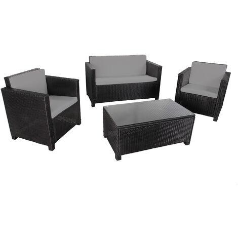 MATIRA - Rattan Sofa Set - 4 Seats Black Grey - Black Grey
