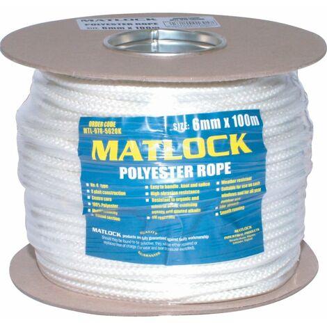 Matlock No.4 6mm 8PLT Polyester White Sash Cord 100M Reel