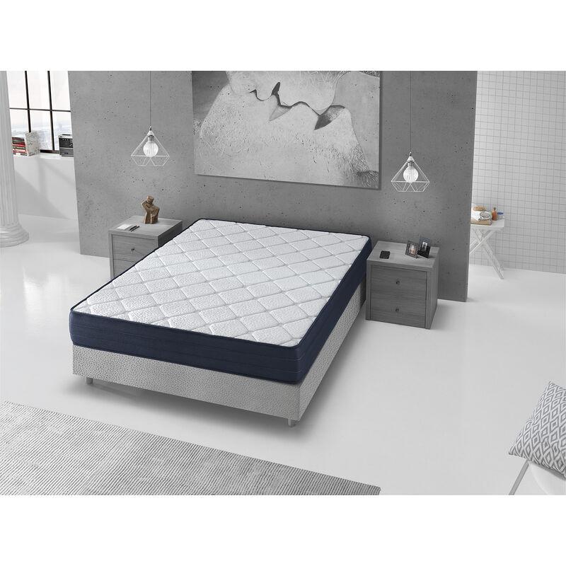 Dormalit - Matratze 200x200 LAURA -H3- Hohe 22cm- Lendengegendstutze und viscoelasisch - Verarbeitung in modernes Blau