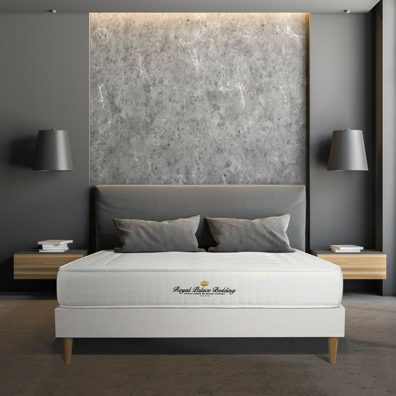 Matratze Nottingham 130 x 190 cm + Bettgestell mit lattenrost , Härtegrad 4 , Memory-Schaum , Höhe : 20 cm