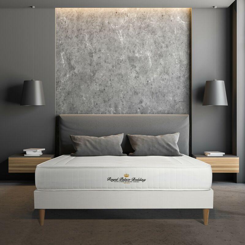 Matratze Nottingham 130 x 210 cm + Bettgestell mit lattenrost , Härtegrad 4 , Memory-Schaum , Höhe : 20 cm