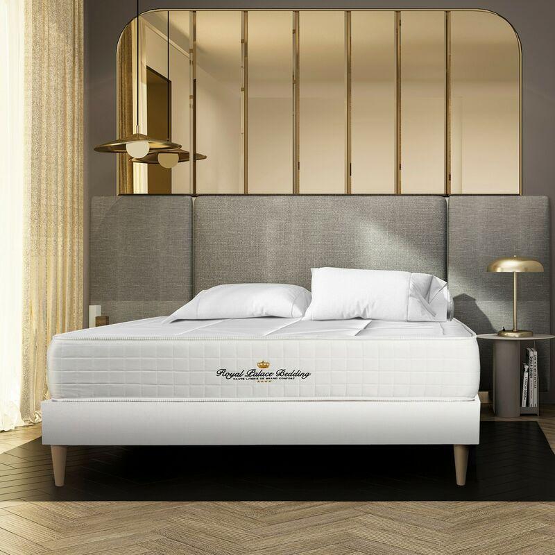 Matratze Windsor 130 x 200 cm + Bettgestell mit lattenrost , Härtegrad 2 , Memory-Schaum und Taschenfeder , Höhe : 26 cm