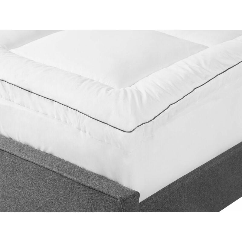 Doppelter Matratzen Topper Weiß 140 x 200 cm Baumwolle Komfortabel Weich Härtegrad - BELIANI