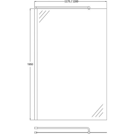 Matrix Chrome 1200mm x 1950mm Wetroom Screen (Shower Shield) & Support Bar