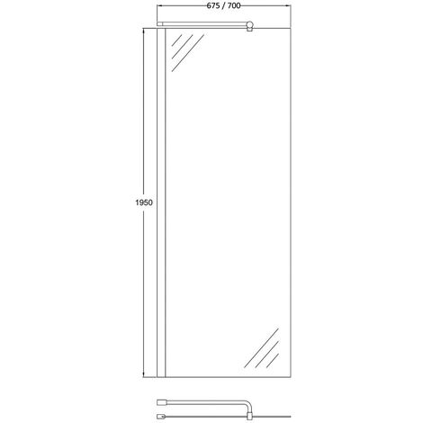 Matrix Chrome 700mm x 1950mm Wetroom Screen (Shower Shield) & Support Bar