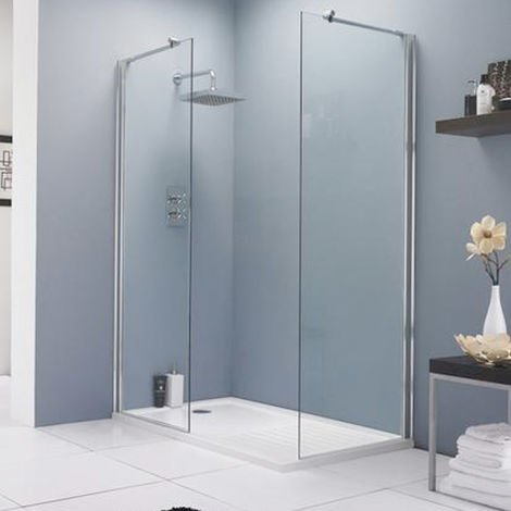 Matrix Chrome 760mm x 1950mm Wetroom Screen (Shower Shield) & Support Bar