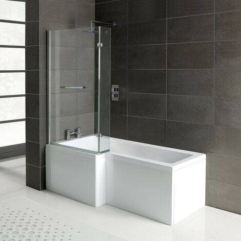 Matrix L-Shape 1500mm Shower Bath, Front Panel & Matrix Deluxe Screen - Left Hand