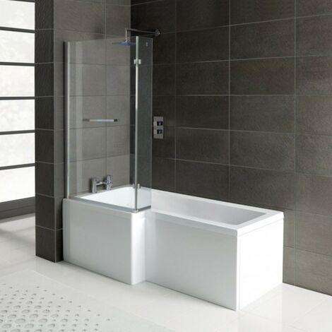 Matrix L-Shape 1600mm Shower Bath, Front Panel & Matrix Deluxe Screen - Left Hand