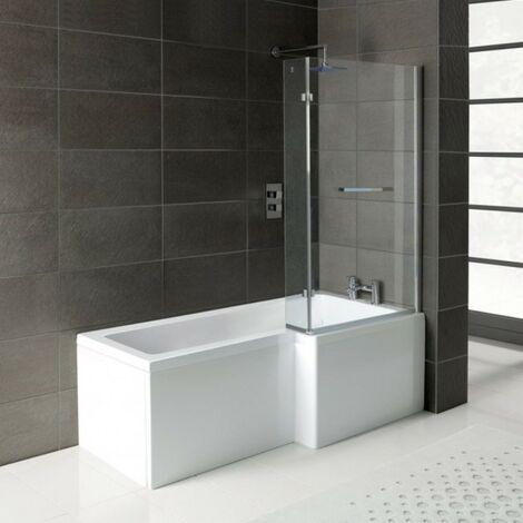 Matrix L-Shape 1600mm Shower Bath, Front Panel & Matrix Deluxe Screen - Right Hand