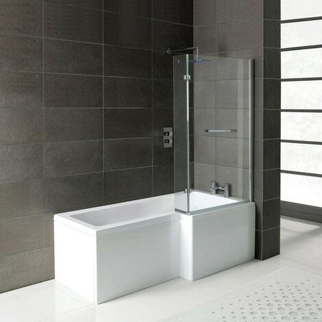 Matrix L-Shape 1600mm Shower Bath & Front Panel - Right Hand