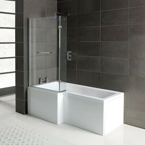 Matrix L-Shape 1700mm Shower Bath, Front Panel & Matrix Deluxe Screen - Left Hand