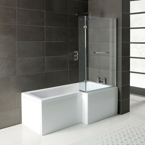 "main image of ""Matrix L-Shape 1700mm Shower Bath, Front Panel & Matrix Deluxe Screen - Right Hand"""