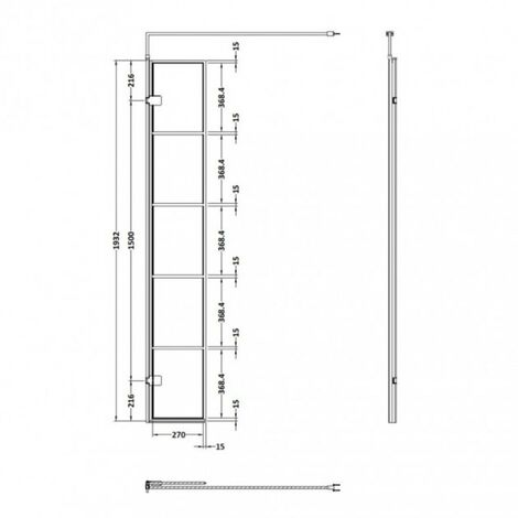 Matrix Matt Black Framed 300mm x 1950mm Wetroom Swing Screen
