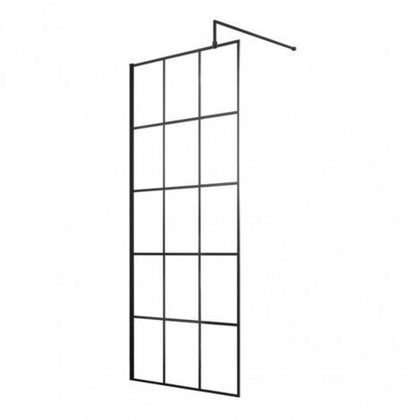 Matrix Matt Black Framed 700mm x 1950mm Wetroom Screen & Support Bar