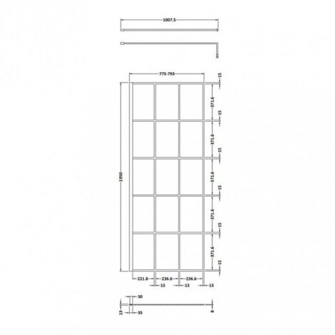 Matrix Matt Black Framed 800mm x 1950mm Wetroom Screen & Support Bar