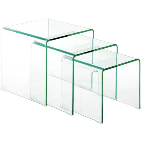 Matrix Nesting Tables,Clear Bent Glass,Set of 3