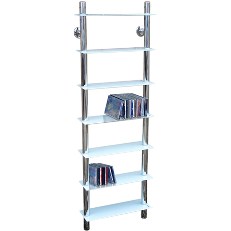 MATRIX - Wall Mounted Glass 266 CD / 175 DVD / Media / Storage Shelves - White