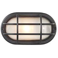 Matt Black Cast Aluminium Outdoor Oval Bulkhead Wall Light by Happy Homewares
