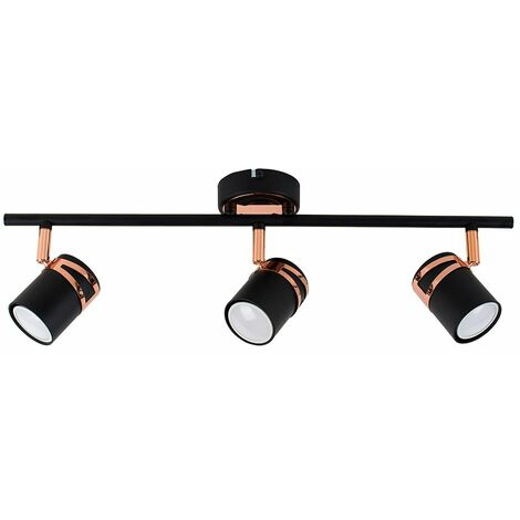 "main image of ""Matt Black & Copper 3 Way Ceiling Spot Light - Warm White LED Bulbs"""