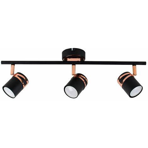 Matt Black & Copper 3 Way Ceiling Spot Light - Warm White LED Bulbs