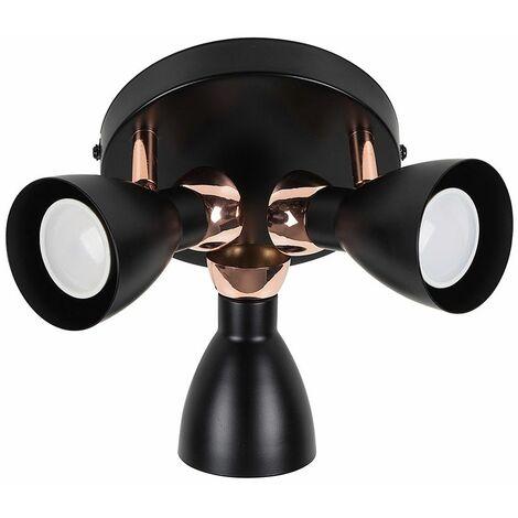 Matt Black & Copper Adjustable 3 Way Head Round Ceiling Spotlight