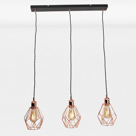 Matt Black & Copper Geometric 3 Light Bar Pendant
