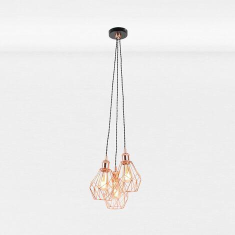 Matt Black & Copper Geometric 3 Light Cluster Pendant