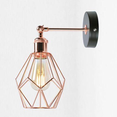 Matt Black & Copper Geometric Wall Light