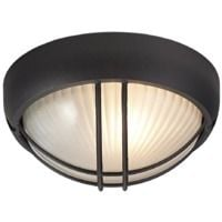Matt Black Die Cast Aluminium Outdoor Circular Bulkhead Porch or Wall Light by Happy Homewares