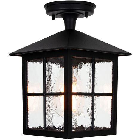 Matt Black Die-Cast Aluminium Traditional Lantern Porch Ceiling Light Fitting by Happy Homewares