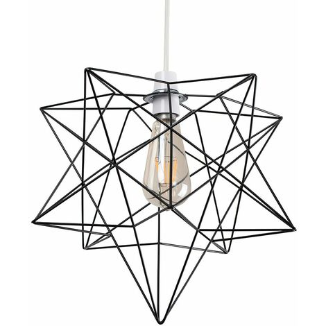 Matt Black Geometric Star Ceiling Pendant Light Shade - 4W LED Filament Bulb Warm White - Black