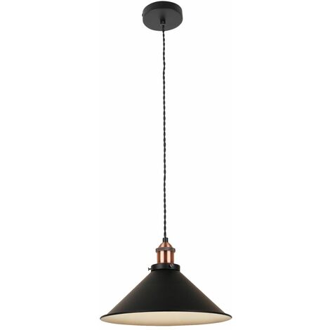 Matt Black With Brushed Copper Ceiling Pendant